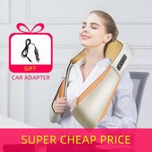 Rodillo masajeador eléctrico en forma de U para cuello, espalda, cuello, hombros, cuidado de la salud corporal, relajación, almohada de masaje caliente por infrarrojos