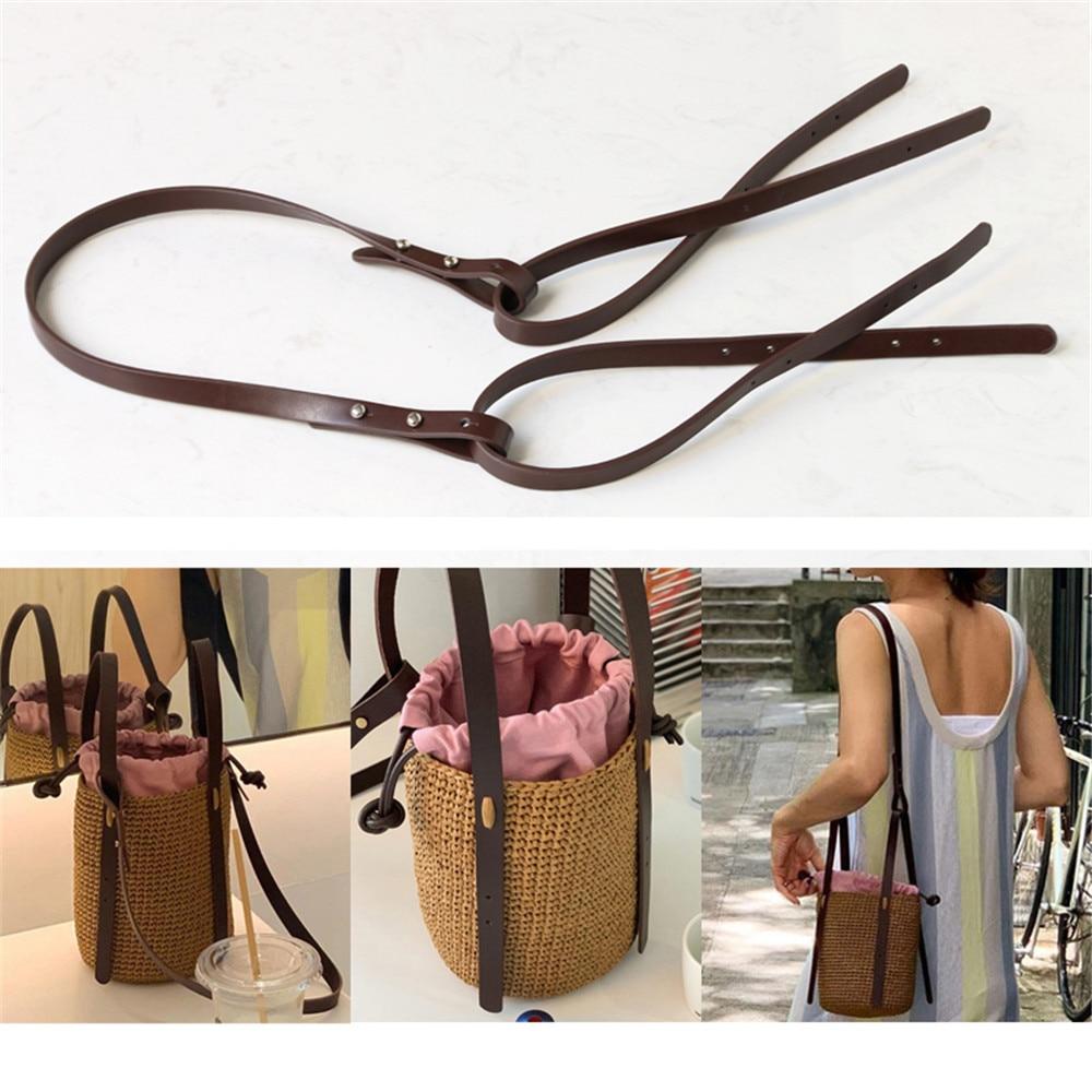 High Quality PU Leather Handbag Shoulder Handle Strap Brown Black Long Shoulder Strap For DIY Handmade Woven Bag Accessories