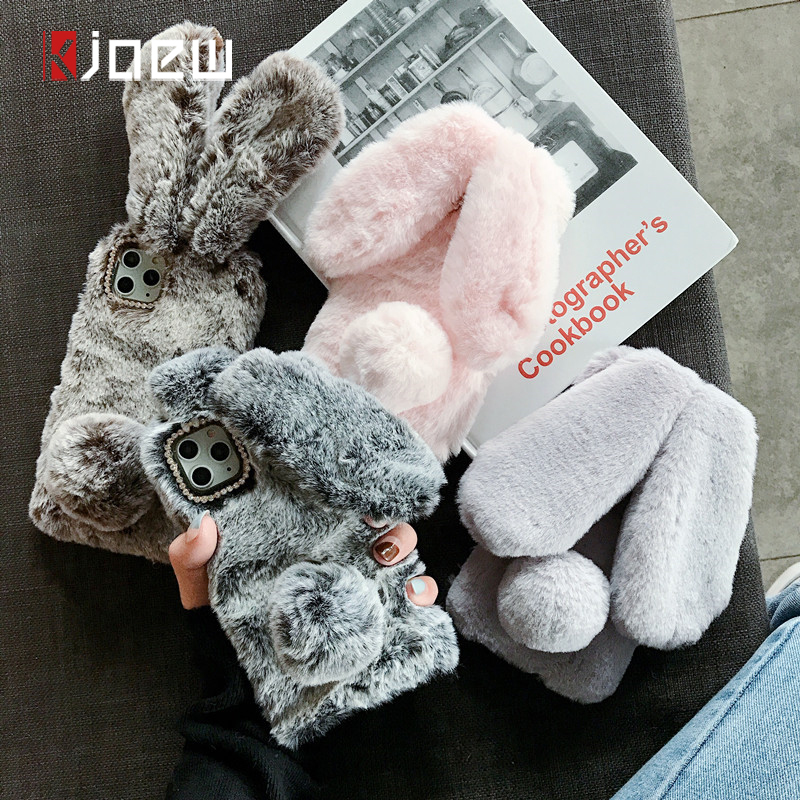KJOEW Warm Plush Long Rabbit Ears Furry Fluffy Fur Phone Case For iPhone 11 Pro Max X XR Xs Max Cover For iPhone 6 6S 7 8 Plus