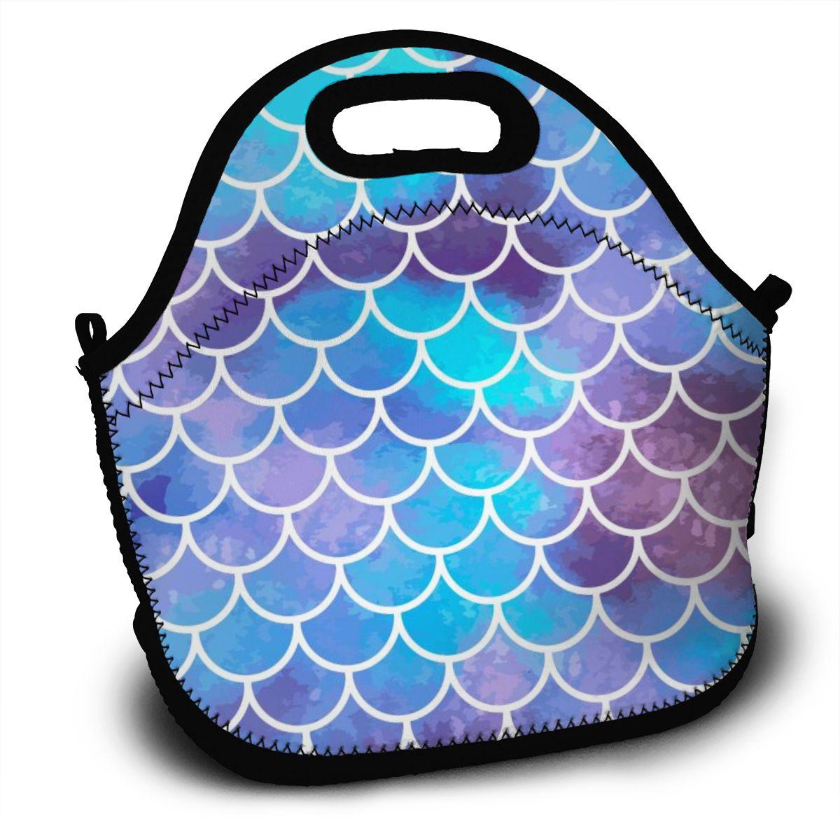 Bolsa de Almoço Bolsas para o Trabalho Portátil Sereia Escalas Peixe Azul Impressão Feminina Reutilizável Almoço Pinic Viagem 2020 Bolsas Casuais