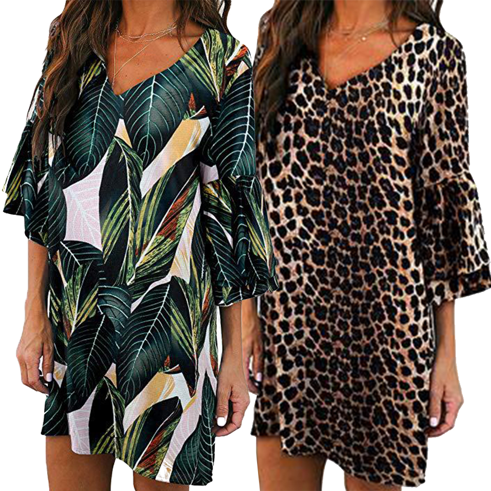 Summer V Neck Bell Sleeve Fashion Women Dress Vacation Casual Party Printed Sweet Gift Charming Beach in Dresses from Women 39 s Clothing