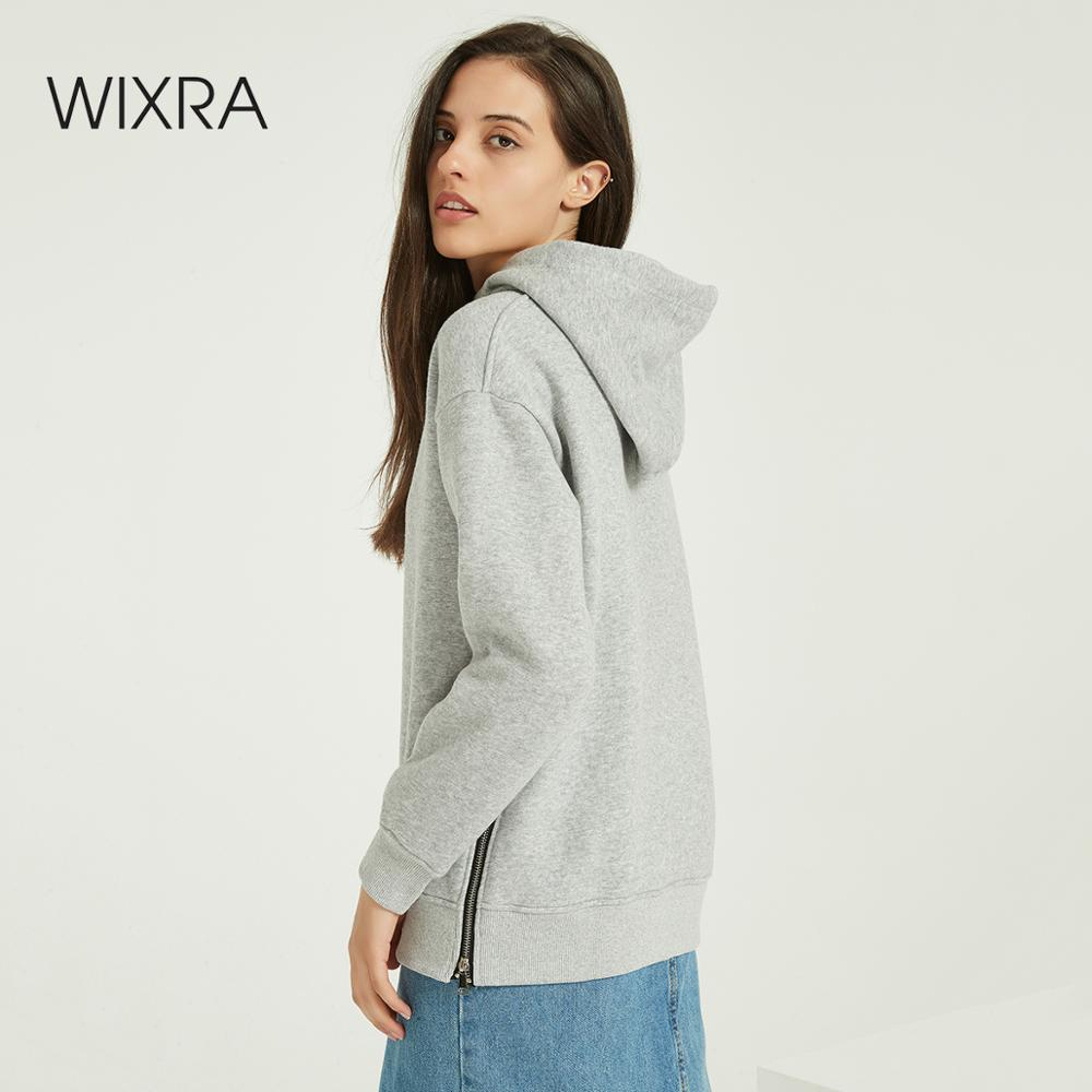 Wixra Women Casual Sweatshirts Solid Lace Up Long Sleeve Loose Hoodies Tops Winter Spring Basic Pullover Tops