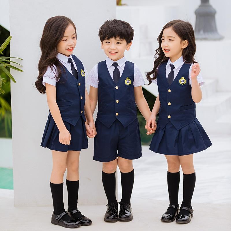 Children Navy Blue Cotton Japanese Student School Uniforms Set Suit For Girls Boys Waistcoat Vest Shirt Skirt Shorts Tie Clothes