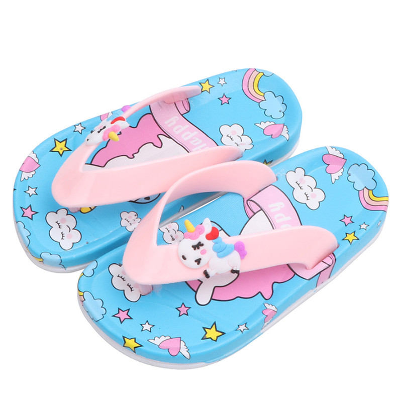 2020 Fashion Cartoon Unicorn Slippers For Kids Summer Boy Girl Beach Shoes Baby Toddler Soft Indoor Bathroom Slippers Flip Flops