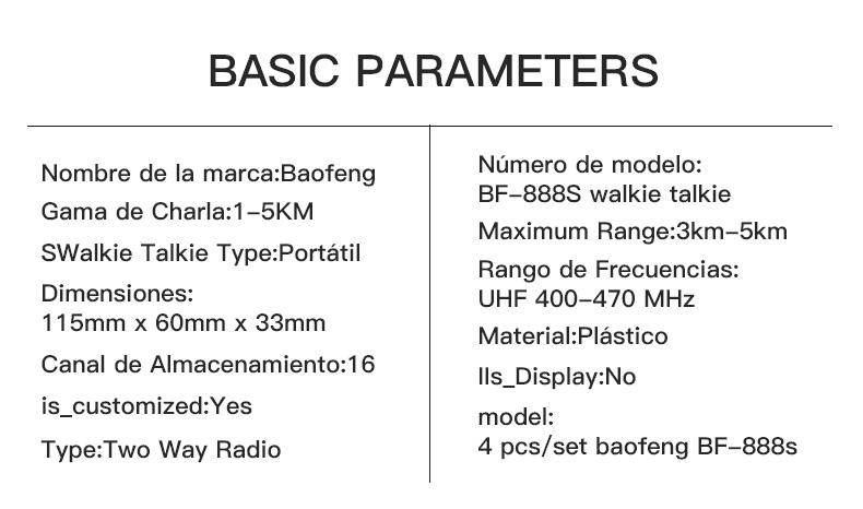 BAOFENG Walkie talkie UHF 400-470MHz BF-888S