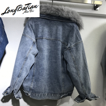 Winter Denim For Women Removable Rabbit Wool Liner Jeans Jacket Real Fox Fur Collar Plus size Warm Basic Coat Outerwear image