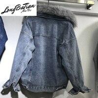Winter Denim For Women Removable Rabbit Wool Liner Jeans Jacket Real Fox Fur Collar Plus size Warm Basic Coat Outerwear