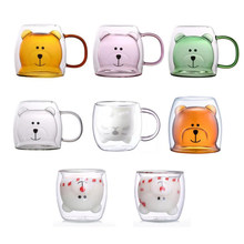 New cute animal glass cup with handle 250 ml double glass milk cup Coffee Cup Christmas gift for children girls adults