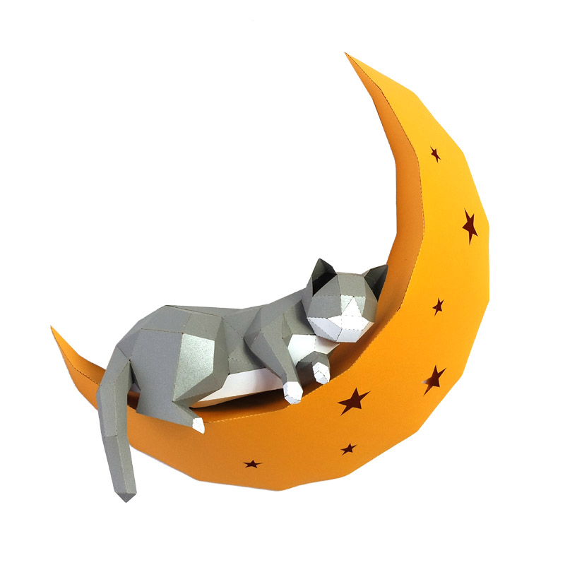 3D Cat On Moon Animal Paper Wall Art Sculpture Model Toy Home Decor Living Room Decor DIY Paper Craft Model Party Gift