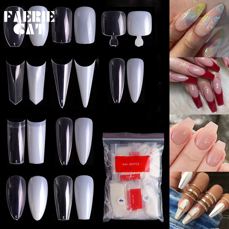 500pcs Professional Acrylic Fake Nail Art Ballet Long French Pointed False Nail Display Tips DIY Salon Tools Toe Natural/Clear