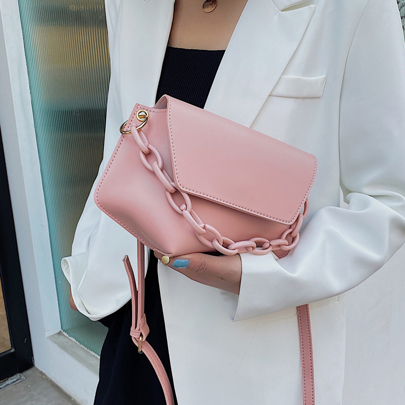 Solid Color Chain Tote Bag 2020 Summer New Quality PU Leather Women's Designer Handbag Casual Shoulder Messenger Bag Chest Bag