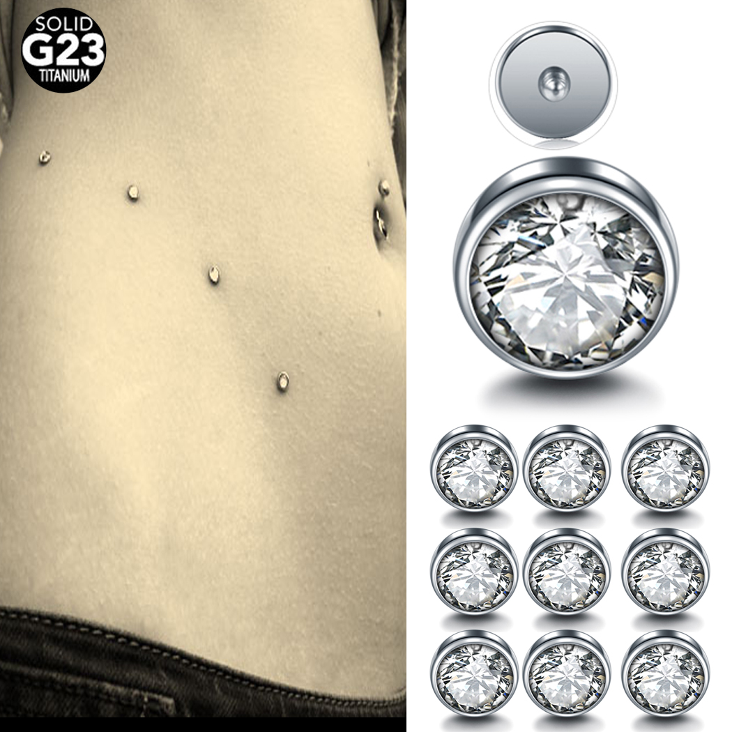 14G Shiny Crystal Rhinestone Dermal Anchor Tops and Bases Microdermal Titanium Steel Body Dermal Piercing