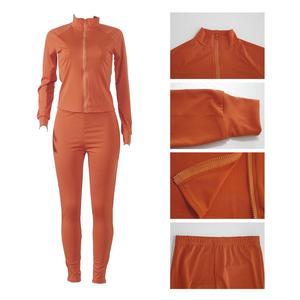 Image 3 - Casual primavera 2 peça conjunto feminino jogging femme sportwear ternos de suor feminino topo de colheita + calças compridas outfits sólido 8 cores