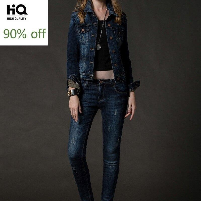 Womens Set Korean Style Street Slim Turn Down Collar Denim Coat Frayed Jeans Women Two Piece Outfits Casual Conjunto Feminino