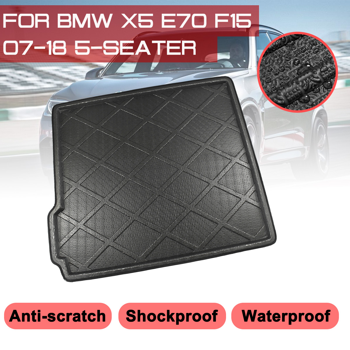 1pcs Luxury Leather Car Boot Mat Boot Tray Rear Trunk Cargo Liner Cargo Mat Cargo Tray Floor Mat Carpet Custom Fit For BMW X3 F25 2011 2012 2013 2014 2015 2016 2017 2018 2019