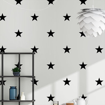 Cute black and white star non-woven wallpaper simple stylish boy girl bedroom dormitory background wall papers cartoon sticker