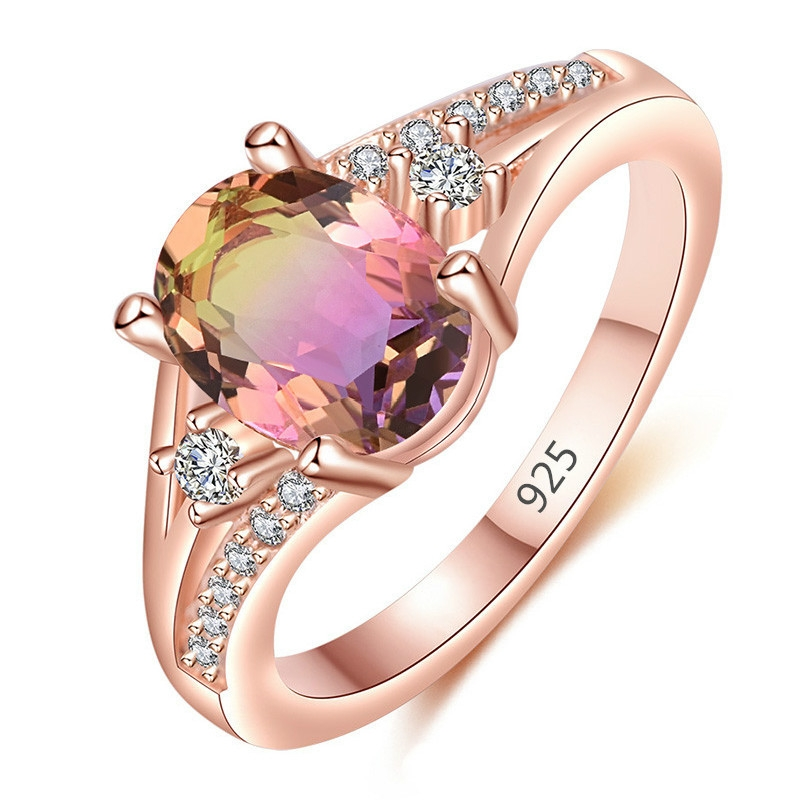 New Fashion Women Rings Rose Gold Color Crystal Inlay Rings Wedding Engagement Bands Classic Jewelry Girl Birthday Gift