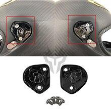 Para agv pista gp r gp rr capacete da motocicleta acessórios um par de pivô kit placa base com quatro parafusos capacete acessórios