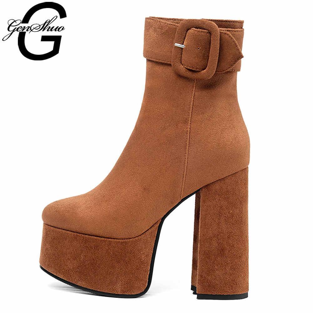 GENSHUO 2019 Herbst Winter Neue Mode Plattform Stiefeletten Frauen 14cm Starke Ferse Plattform Stiefel Damen Stiefel Schwarz Grau schuhe