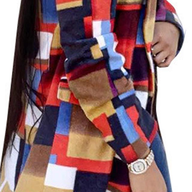 Color Plaid Wool Coat Women Fall Winter Long Woolen Coats Plus Size Overcoat 2019 Fashion African Ladies Oversized Outerwear 3XL