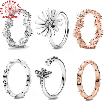 925 Sterling Silver Ring Sparkling Daisy Flower Crown Rings for Women Original Silver Ring Fine Jewelry