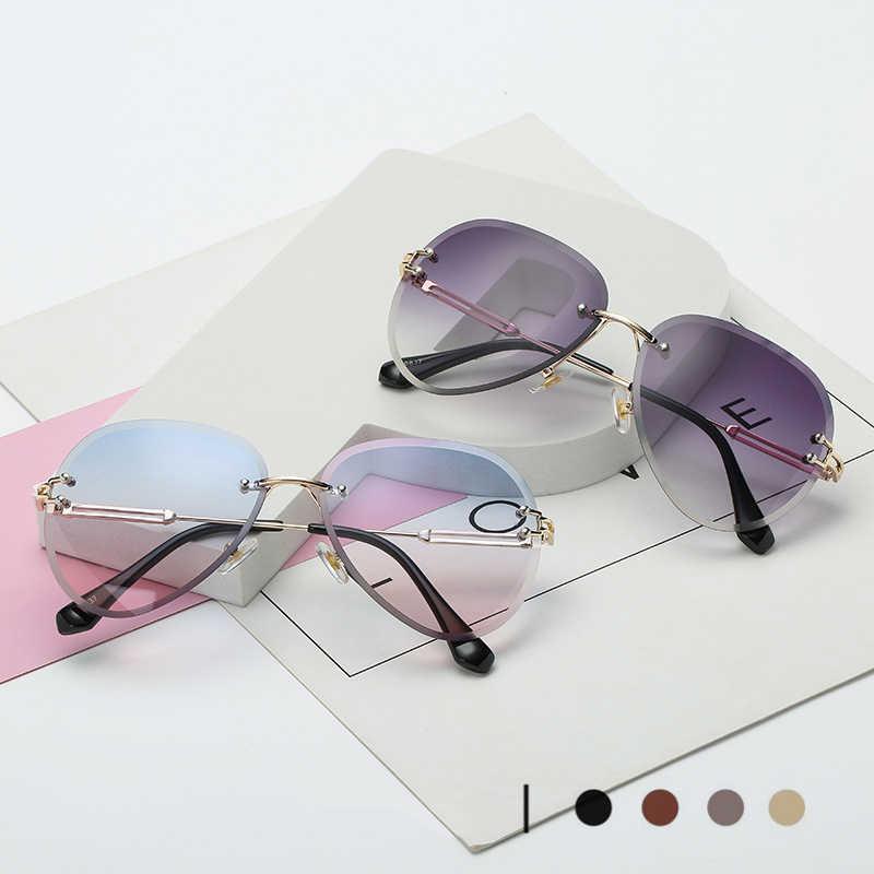 2020 Retro Rimless แว่นตากันแดดผู้หญิง VINTAGE สีชมพูนักบินดวงอาทิตย์แว่นตาแฟชั่น lunette Soleil Femme gafas de SOL mujer