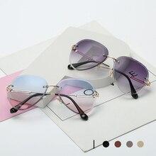 2020 Retro Rimless Sunglasses Women Vintage Pink Pilot Sun G