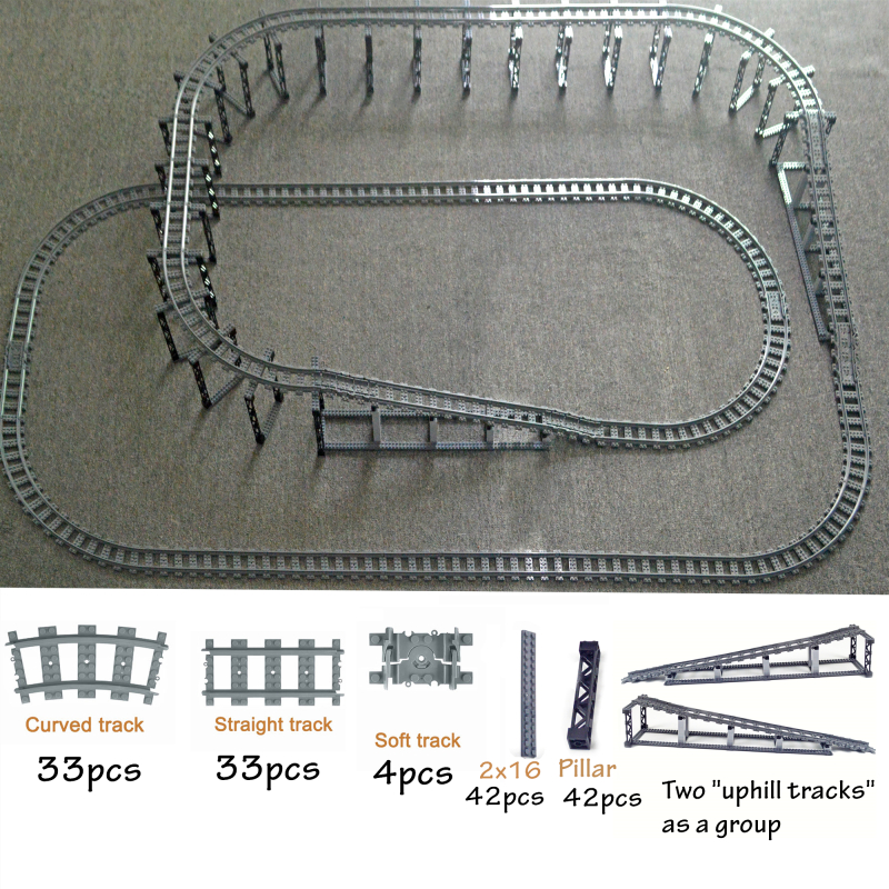 City Train Flexible Tracks Trein Double Layer Track  Rail Straight Curved Rails Building Block Brick Model Compatible All Brands