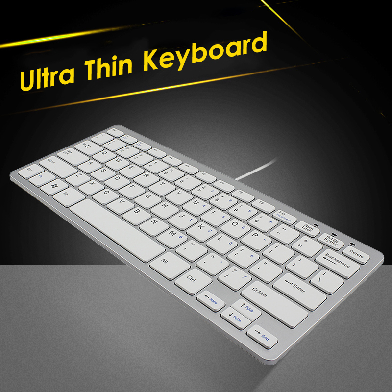 CHYI Wired Ergonomic Computer Usb-Cable Office-Keypad Portable Keyboard Slim White Mini