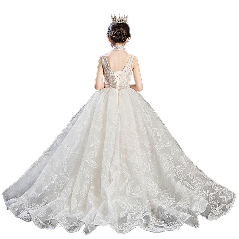 Flower Girls Ball Gown Pageant Dress Vestidos Primera Kids Wedding Dresses Little Bribe White First Communion Dresses For Girls