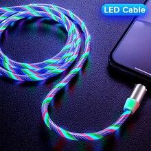 Магнитный течёт светодиодный кабель Micro USB для samsung S10 S9 type-c зарядное устройство для huawei магнитное зарядное устройство usb type C кабели