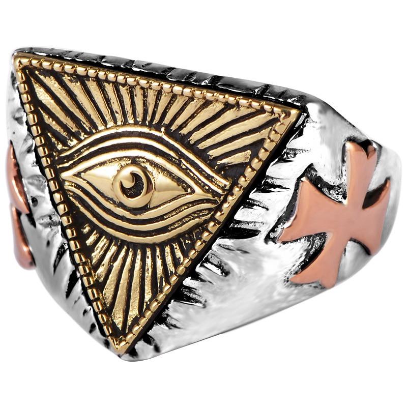 Bague homme S925 en argent pur yeux de dieu, bijoux en argent thaïlandais triangulaires de l'egypte ancienne avec ouverture réglable