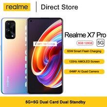 Realme X7 Pro 5G Smartphone Android 10 8GB 128GB 6.55'' FHD+ 64MP Quad Cameras Dimensity 1000 + Octa Core 4500mAh NFC Cell phone
