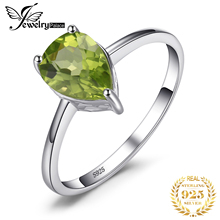 JewelryPalace Pear 1.3ct Natural Green Peridot Birthstone Solitaire Ring 925 Sterling Silver Fashion Brand Jewelry Big Promotion