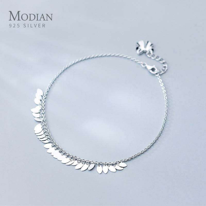 Modian Genuine 925 Sterling Silver Oval Light Tassel Anklet for Women Fashion Bracelet Foot Chain Fine Jewelry Accessories