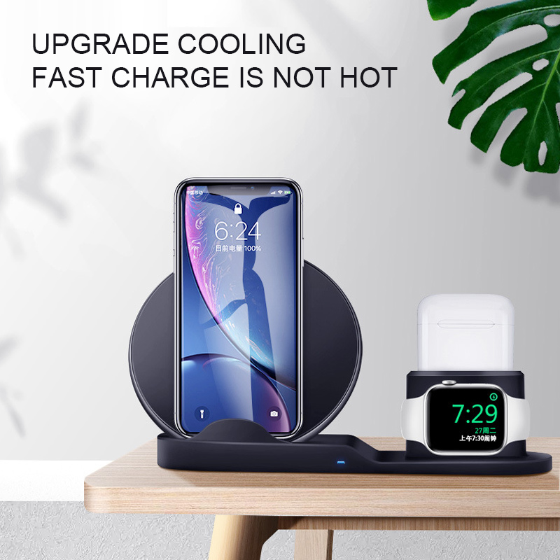 Image 2 - Wireless Charger 3 In 1 Fast Charging 10W QC 3.0 Mobile Phone Charger for Iphone Apple Watch IWatch Airpods Charger Station DockWireless Chargers   -