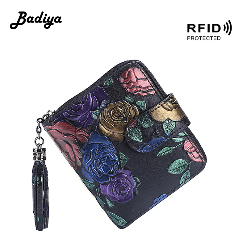 RFID Genuine Leather Women Wallet Large Capacity Multifunction Coin Purse Multi-card Position Credit Card Holder Lady Clutch Bag