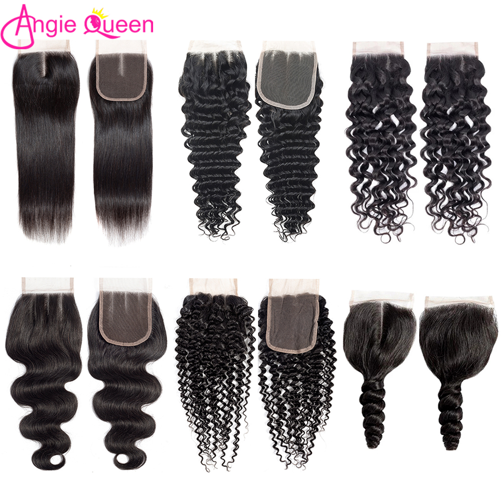 ANGIE QUEEN Lace Closure Human Hair Weaves Brazilian Remy Hair Three/Middle/Free 4x4 Lace Part Natural Color 8-20 Hair Extention
