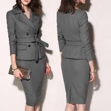 Suit Grey-Set Women Long-Sleeve Office Ladies Fashion Button Work-Wear Zipper Solid-Turn-Down