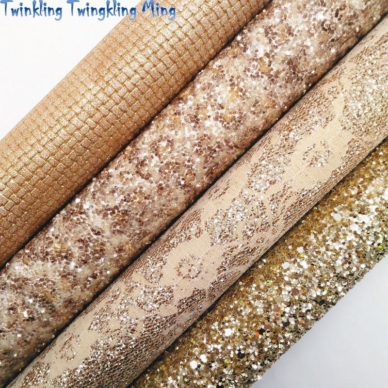 Золотые блестящие кожаные ткань, леопардовый рисунок, блеск с принтом ткани, с кружевом и блестками; Кожаные листы для Лук 21x29 см мерцание Ming ...
