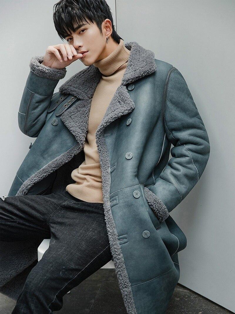 2020 Winter Genuine Leather Jacket Men Long Real Fur Coat Mens Shearling Jacket Sheepskin Coat For Men Veste Cuir Homme 18148