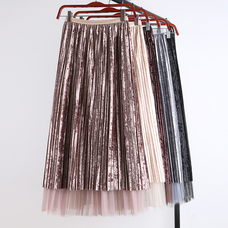 autumn winter flexible elastic waistband stretch high waisted midi pleated a line velvet tulle skirt for women womens skirts
