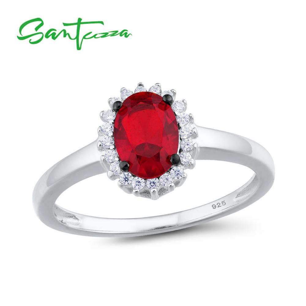 SANTUZZA Silver Rings For Women Pure 925 Sterling Silver Glamorous Red Oval Glass Ring Elegant Wedding Accessories Fine Jewelry