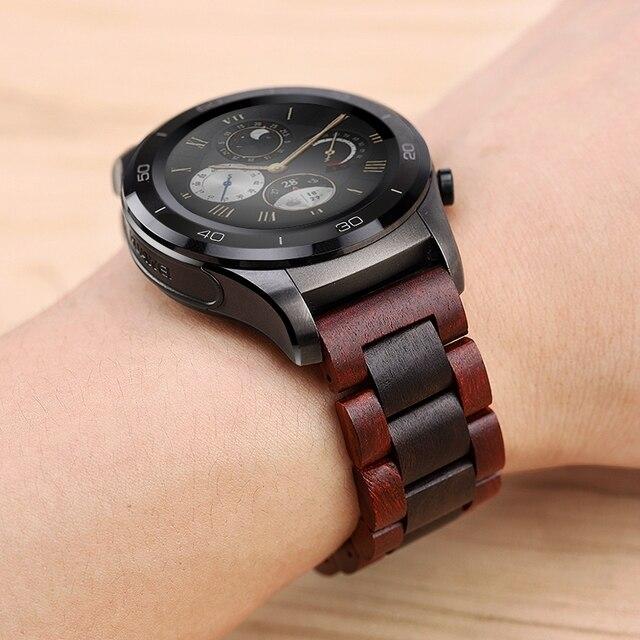 20 22Mm Hout Horloge Band Voor Huawei Horloge Gt/Galaxy 42/46Mm Roestvrij Stalen Gesp Riem vervanging Armband Voor Gear S3 S2