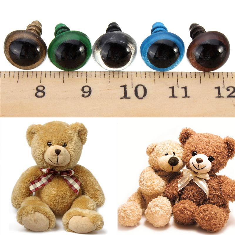 20PCS 10/14mm Mix Color Plastic Safety Eyes Crafts Teddy Bear Animal Dolls Puppet Accessories Stuffed Toys Parts With Washer