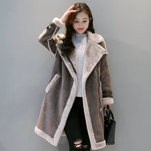 Winter Women Imitate Buckskin Overcoats Heavy Imitation Lambs Wool Plush Fleece Liner Coats Gray Coffee Suede Fabric Outerwear