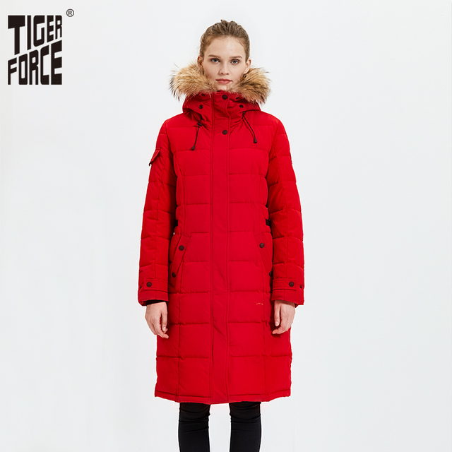 Tiger Force Winter Womens Parka Windproof Women Thick Coat European Style Womens Warm Jacket with Real Fur Hooded