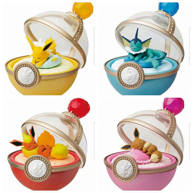 Japan Eeveelution Family Sleeping In Pokeball Dreaming Case Pkm Action Figure Collective Birthday Gift For Children