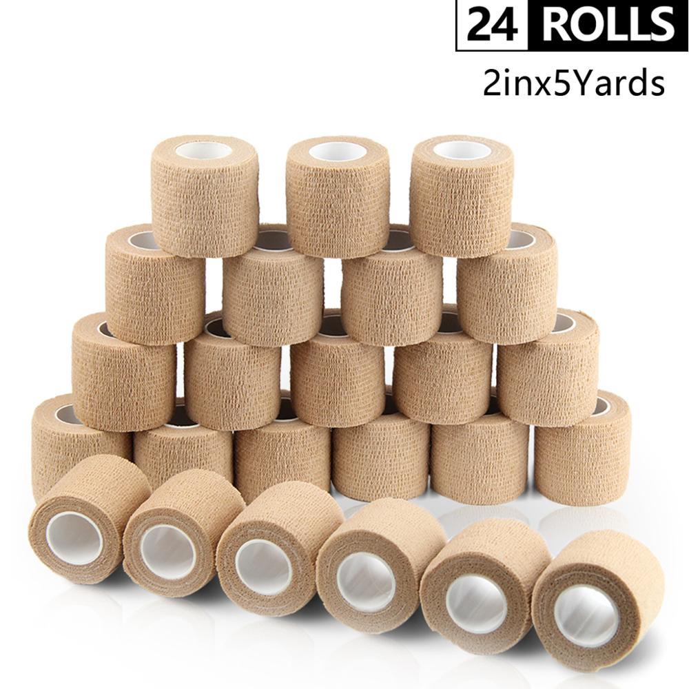 Bandagem coesiva à prova d'água 24 rolos, bandagem esportiva respirável de não tecido, envoltório de pulso 5cm * 4.5m m m