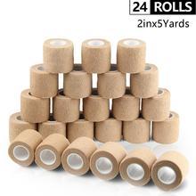 24 Rolls Self Adhesive Bandage Waterproof Cohesive Bandage Non Woven Bandage Sport Tape Breathable Wrist Wraps 5cm*4.5m